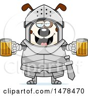 Chubby Dog Knight Holding Beers