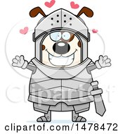 Chubby Dog Knight With Love Hearts And Open Arms