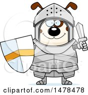Clipart Of A Chubby Dog Knight Holding A Sword And Shield Royalty Free Vector Illustration by Cory Thoman
