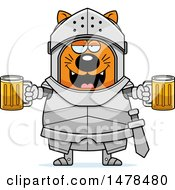 Chubby Cat Knight Holding Beers
