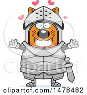 Chubby Cat Knight With Love Hearts And Open Arms