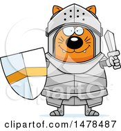 Clipart Of A Chubby Cat Knight Holding A Sword And Shield Royalty Free Vector Illustration by Cory Thoman