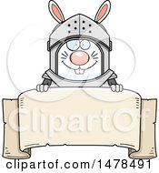 Chubby Rabbit Knight Over A Banner