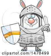 Clipart Of A Chubby Rabbit Knight Holding A Sword And Shield Royalty Free Vector Illustration by Cory Thoman