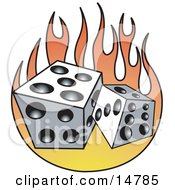 Pair Of White And Black Dice And Flames Clipart Illustration