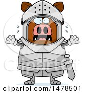 Clipart Of A Chubby Scared Boar Knight Royalty Free Vector Illustration