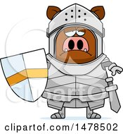 Clipart Of A Chubby Sad Boar Knight Royalty Free Vector Illustration