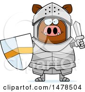 Clipart Of A Chubby Boar Knight Holding A Shield And Sword Royalty Free Vector Illustration