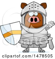 Clipart Of A Chubby Boar Knight Waving Royalty Free Vector Illustration