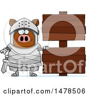 Chubby Boar Knight By Wood Signs