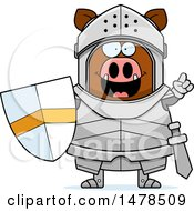 Clipart Of A Chubby Boar Knight With An Idea Royalty Free Vector Illustration