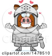 Clipart Of A Chubby Boar Knight With Love Hearts And Open Arms Royalty Free Vector Illustration