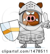 Clipart Of A Chubby Mad Boar Knight Royalty Free Vector Illustration