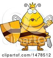 Poster, Art Print Of Chubby Queen Bee In Armor Waving