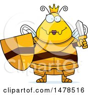 Clipart Of A Chubby Queen Bee In Armor Holding A Sword And Shield Royalty Free Vector Illustration