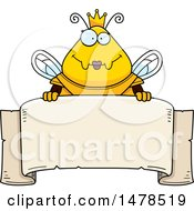 Poster, Art Print Of Chubby Queen Bee In Armor Over A Banner