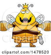 Poster, Art Print Of Chubby Queen Bee In Armor Holding Beers