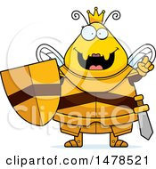 Chubby Queen Bee In Armor With An Idea