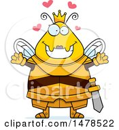 Poster, Art Print Of Chubby Queen Bee In Armor With Love Hearts And Open Arms