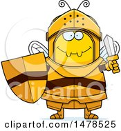 Clipart Of A Chubby Bee Knight Holding A Sword And Shield Royalty Free Vector Illustration