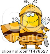 Clipart Of A Chubby Bee Knight Royalty Free Vector Illustration by Cory Thoman