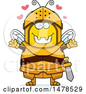 Chubby Bee Knight With Love Hearts And Open Arms