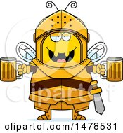 Clipart Of A Chubby Bee Knight Holding Beers Royalty Free Vector Illustration by Cory Thoman