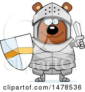 Chubby Bear Knight Holding A Shield And Sword