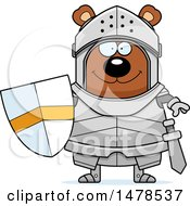 Clipart Of A Chubby Bear Knight Royalty Free Vector Illustration