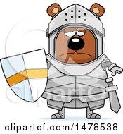 Clipart Of A Chubby Sad Bear Knight Royalty Free Vector Illustration