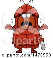 Clipart Of A Chubby Scared Ant Knight Royalty Free Vector Illustration