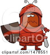 Clipart Of A Chubby Sad Ant Knight Royalty Free Vector Illustration