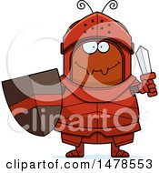 Clipart Of A Chubby Ant Knight Holding A Sword Royalty Free Vector Illustration