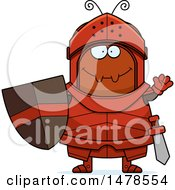Clipart Of A Chubby Ant Knight Waving Royalty Free Vector Illustration