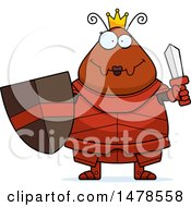 Clipart Of A Chubby Queen Ant In Armor Holding A Sword Royalty Free Vector Illustration