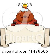 Chubby Queen Ant In Armor Over A Banner