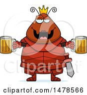 Clipart Of A Chubby Queen Ant In Armor Holding Beers Royalty Free Vector Illustration