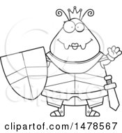 Clipart Of A Chubby Lineart Queen Ant In Armor Waving Royalty Free Vector Illustration