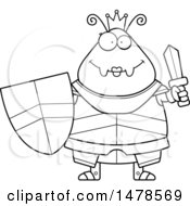 Clipart Of A Chubby Lineart Queen Ant In Armor Holding A Sword Royalty Free Vector Illustration