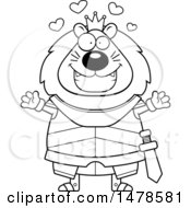 Clipart Of A Chubby Lineart Lion Knight With Love Hearts And Open Arms Royalty Free Vector Illustration