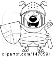 Chubby Outline Dog Knight With An Idea