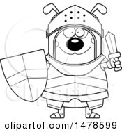 Chubby Outline Dog Knight Holding A Sword And Shield