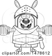 Chubby Lineart Rabbit Knight Holding Beers
