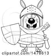 Clipart Of A Chubby Outline Rabbit Knight With An Idea Royalty Free Vector Illustration
