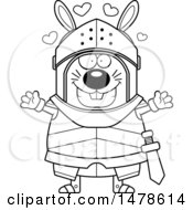 Chubby Lineart Rabbit Knight With Love Hearts And Open Arms