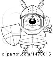 Clipart Of A Chubby Outline Mad Rabbit Knight Royalty Free Vector Illustration