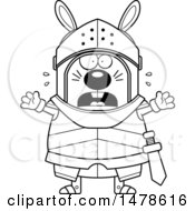 Clipart Of A Chubby Outline Scared Rabbit Knight Royalty Free Vector Illustration