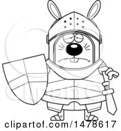 Clipart Of A Chubby Outline Sad Rabbit Knight Royalty Free Vector Illustration