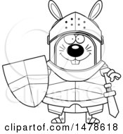 Clipart Of A Chubby Outline Rabbit Knight Royalty Free Vector Illustration