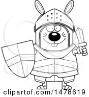 Clipart Of A Chubby Outline Rabbit Knight Holding A Sword And Shield Royalty Free Vector Illustration